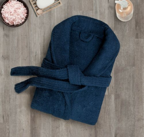 100% Cotton Terry Toweling Luxury Bath Robe Mens & Ladies Collar Shawl Dressing Gown Navy